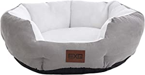 EXQ Home Cat Bed, Cooling Pet Bed for Cats or Small Dogs,Round 20 Inch Cat Beds for Indoor Cats, Breathable Cat Beds for Summer,Soft Grey Cushion Kitten Bed with Slip-Resistant Bottom