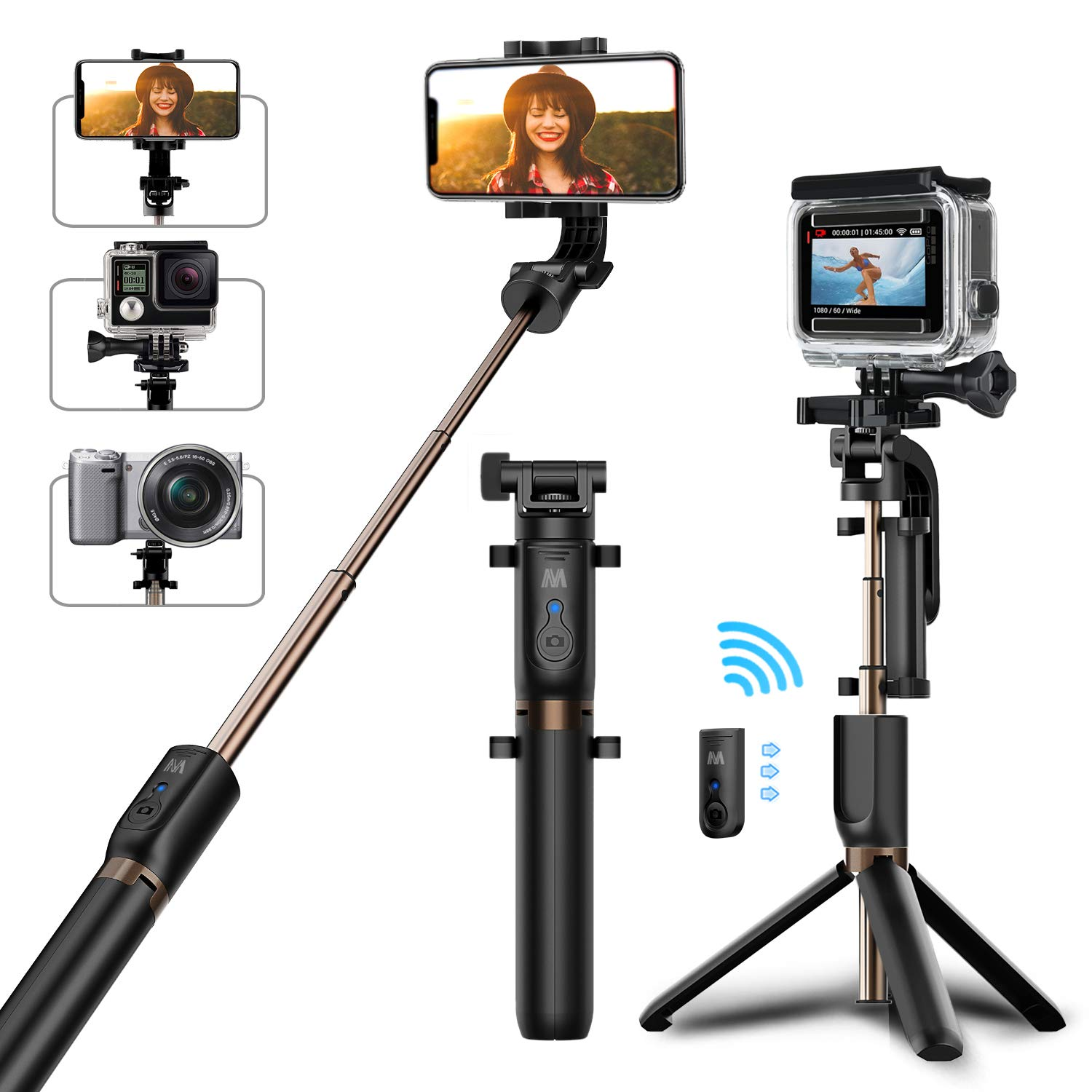 Selfie Stick Tripod, Matone Bluetooth Selfie Stick with Tripod Stand and Detachable Remote, Extendable Monopod for iPhone X/XS Max/XR/8 Plus/7/6S Plus, Galaxy S10/S10 Plus/S10e, GoPro & Action Cameras by Matone