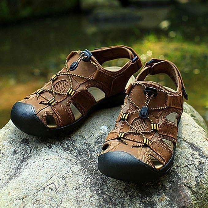 NDHSH Sandales en Cuir Grande Taille pour Hommes Sandales /à Bout ferm/é Chaussures de Plage Chaussures /à Lacets d/ét/é Sandales Confort Piscine Sandales Chaussures de Voyage,Brown-38
