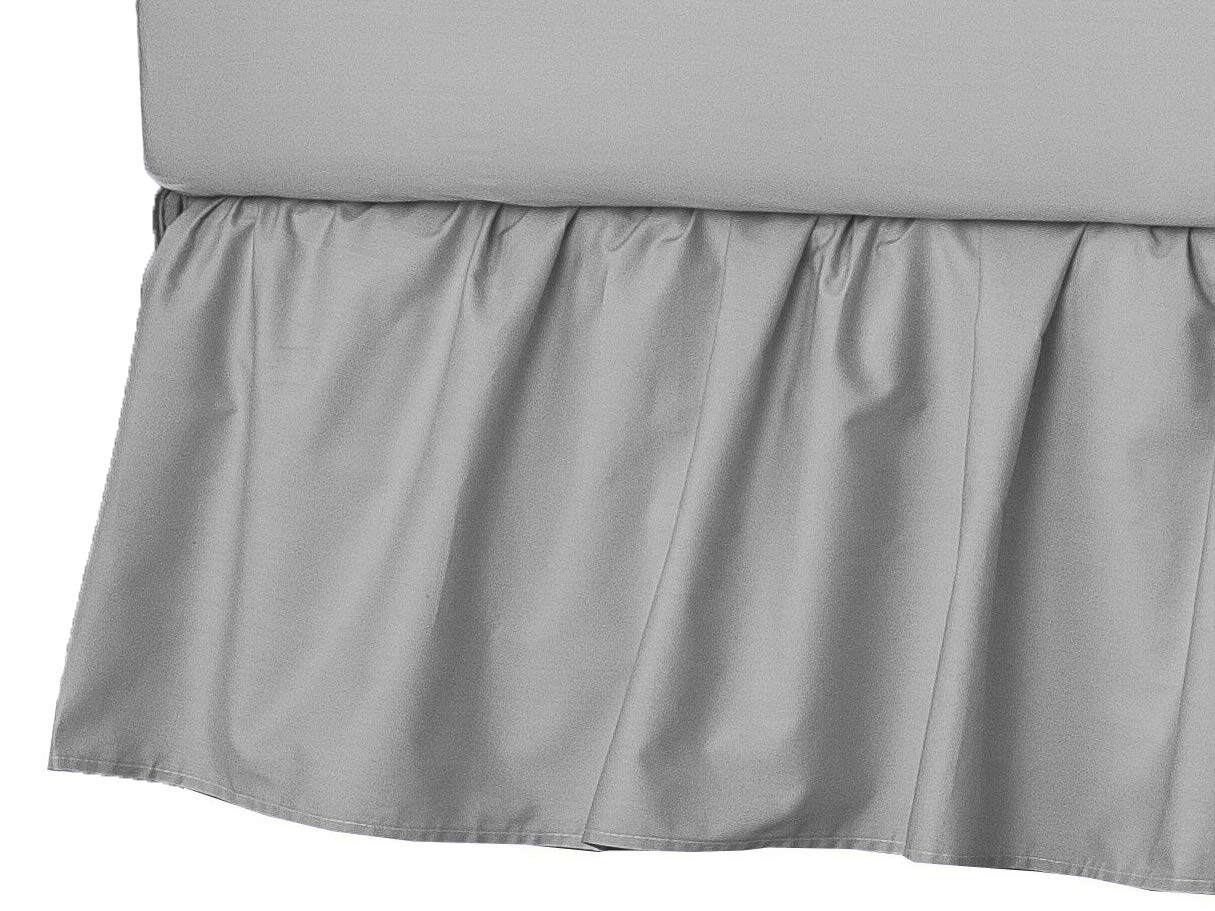 American Baby Company 100% Natural Cotton Percale Portable Mini Crib Skirt, Gray, Soft Breathable, for Boys and Girls