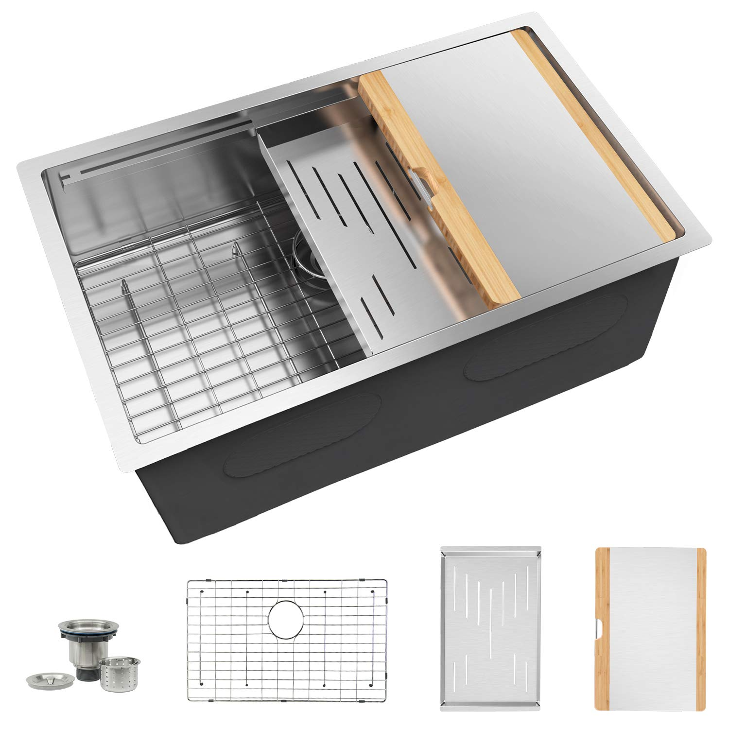 TORVA 24-Inch Workstation Undermount Kitchen Sink, 16 Gauge Stainless Steel Single Bowl with Stainless-steel Bamboo Cutting Board and Drain Tray (24 x 19 x 10 inches)