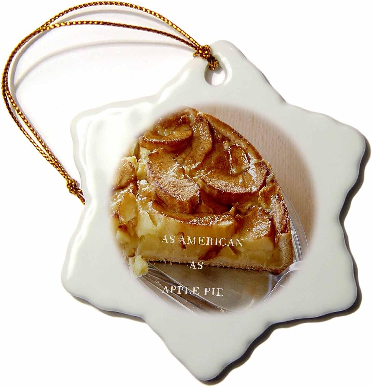3dRose ORN_62231_1 As American as Apple Pie Snowflake Porcelain Ornament, 3-Inch
