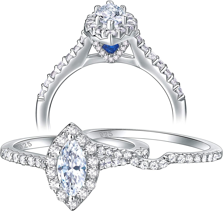 Womens Wedding Rings Bridal Ring Sets for Women Cubic Zirconia Engagement Rings 2pcs Big Wedding Ring Cubic Zirconia Marquise Wedding Rings Set Size 6-9