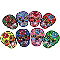 MagiDeal Punk Patches, Iron on Punk Rock Patches, Embroideried Sugar Skull Patches, Day of the Dead Applqiue Motif, DIY…