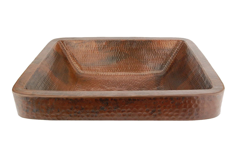 Premier Copper Products VREC19SKDB Rectangle Skirted Vessel Hammered Copper  Sink, Oil Rubbed Bronze   Bathroom Copper Sink   Amazon.com