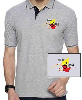df5c4d617 Hemmeya Kannadiga Kannada Mens Cotton Polo T Shirt Grey with Black (Grey  with Black Colour