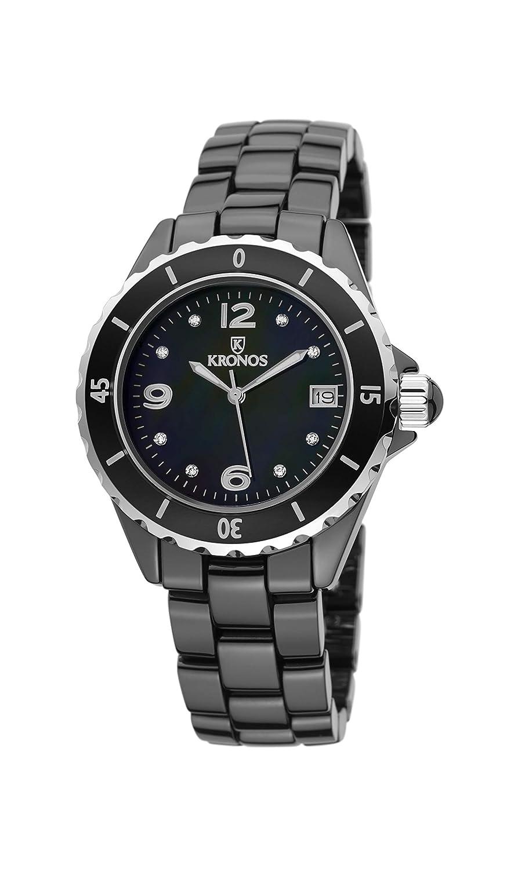 Kronos - Ceramic Black 853.8.52 - Reloj de señora de cuarzo, brazalete de cerámica, color esfera: negra: Amazon.es: Relojes