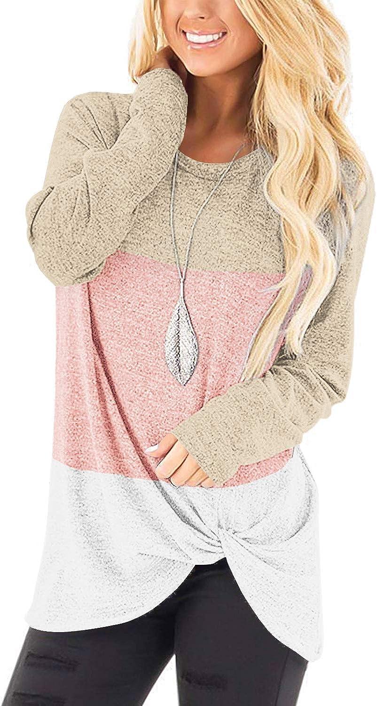 SAMPEEL Womens Casual Tunic Tops Twist Knot Pullover Sweatshirts