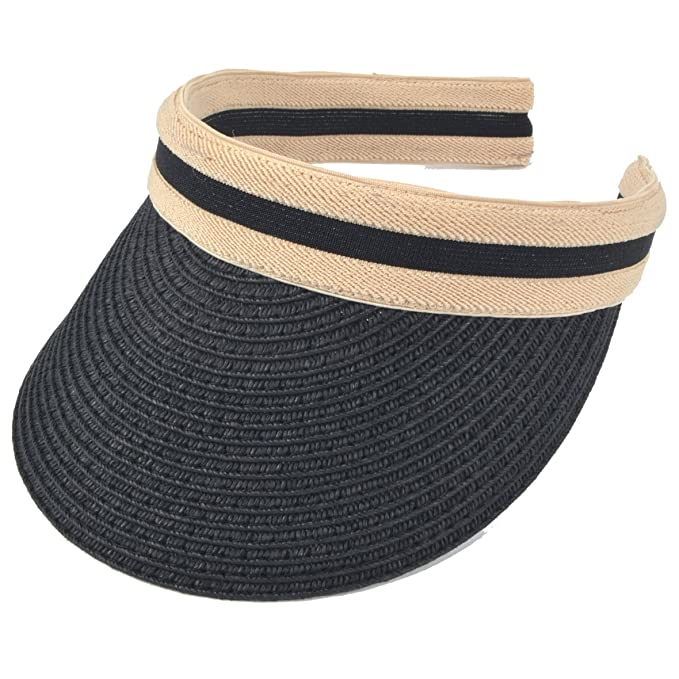 2e3e41ca47f Women Sun Straw Visor Hat UV Protection Golf Beach Outdoor Sports Summer Hat  V201 (Black