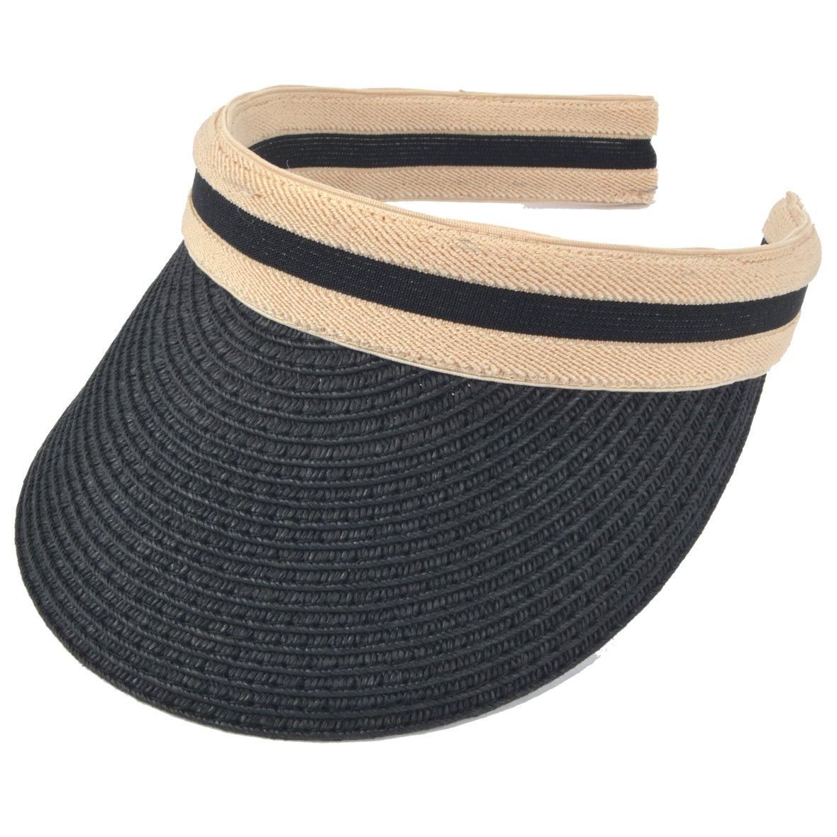Women Sun Straw Visor Hat UV Protection Golf Beach Outdoor Sports Summer Hat V201 (Black)