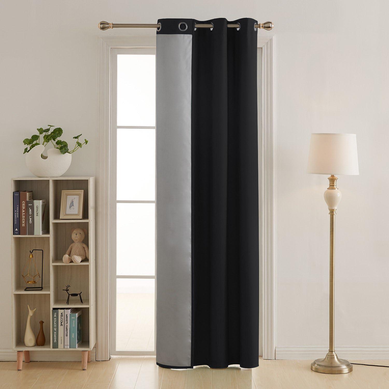 deconovo rideau porte d entree isolant thermique a oeilles avec revetement argente pour maison 140x240cm noir
