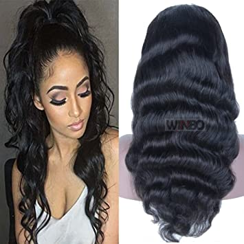WINBOWIG New Body Wave Brazilian Virgin Remy Human Hair Glueless ...