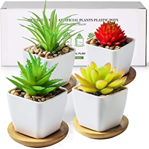 TJ.MOREE Artificial Plants Cute Green Succulents Mini Size, with Bamboo Tray, Perfect for Living Room Bedroom Bookshelf Office Decoration, Set of 4(Plastic Pots)