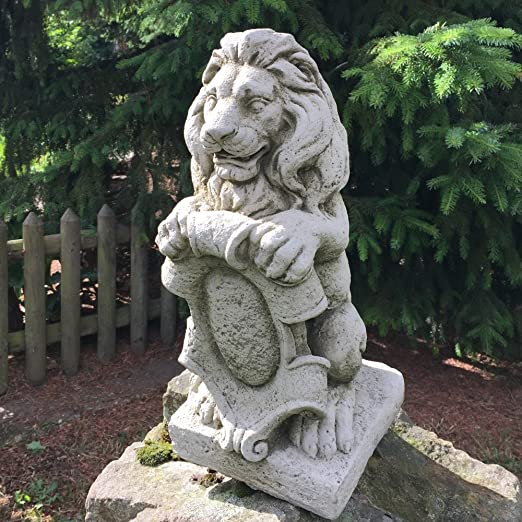 Antikas - león con escudo - esculturas para columnas de piedra - león decoración de piedra jardín: Amazon.es: Jardín