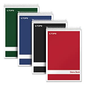 "TOPS Steno Books, 6"" x 9"", Gregg Rule, Assorted Color Covers, 80 Sheets, 4 Pack (80220)"