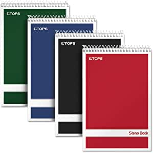 """Tops Steno Books, 6"""" x 9"""", Gregg Rule, Assorted Color Covers, 80 Sheets, 4 Pack (80220), White"""