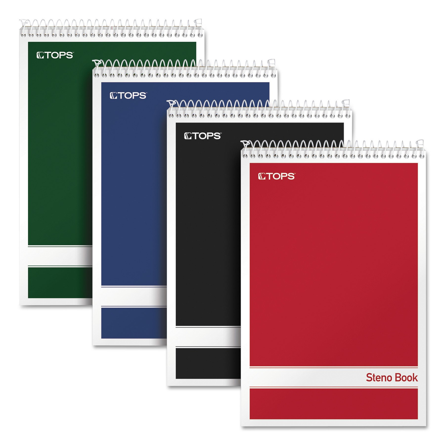 TOPS Steno Books, 6'' x 9'', Gregg Rule, Assorted Color Covers, 80 Sheets, 4 Pack (80220)