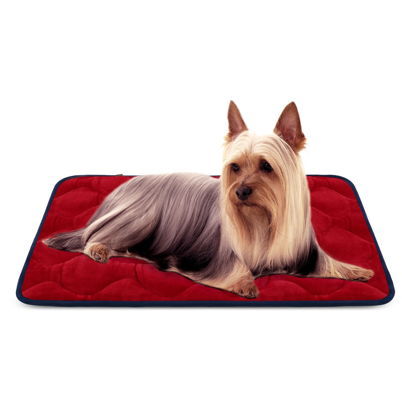 Dog Bed Mat Washable - Soft Fleece Crate Pad - Anti-Slip Matress Small Medium Large Pets (Red S) HeroDog
