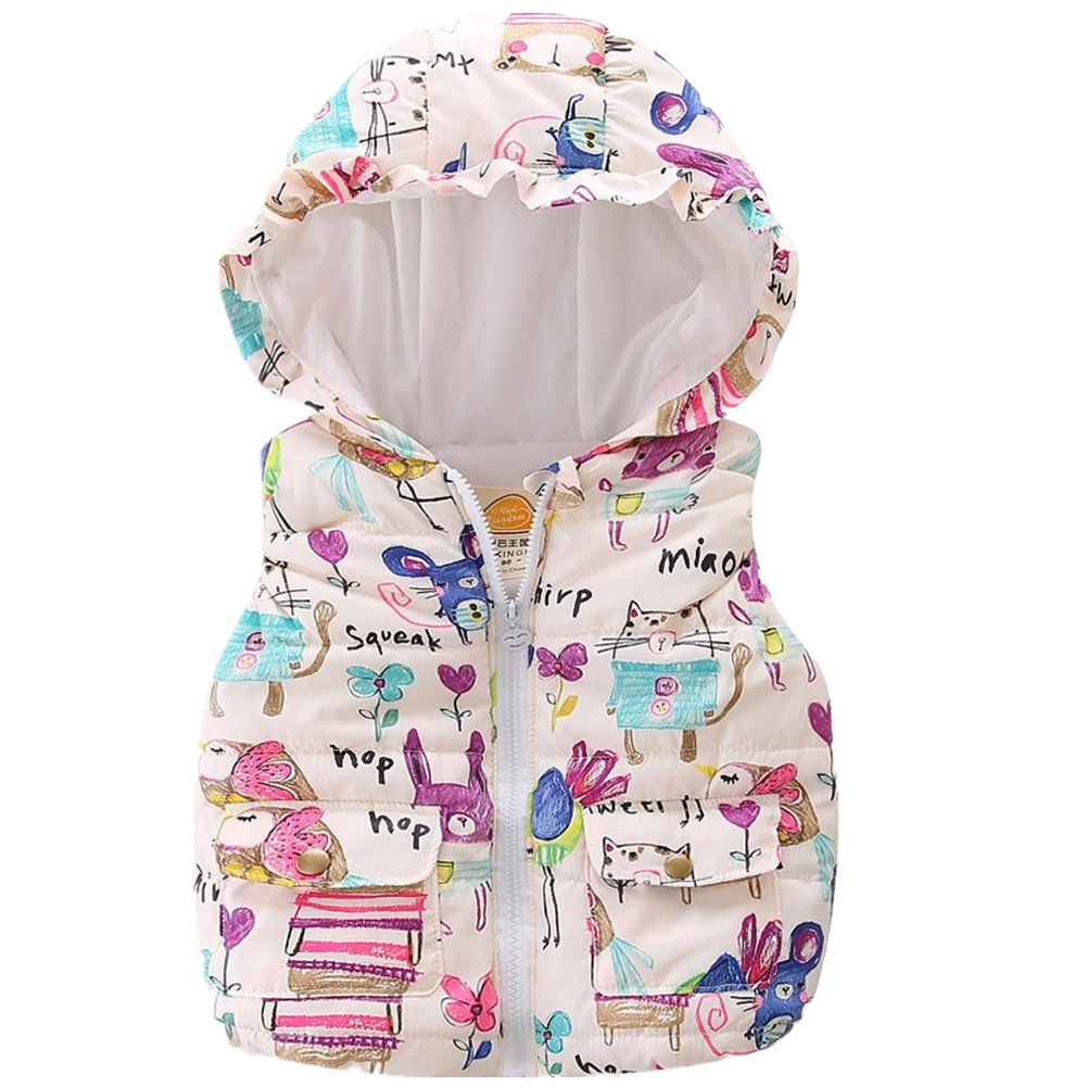LittleSpring Little Girls' Vest Warm Sleeveless SLZ-S0445-ca