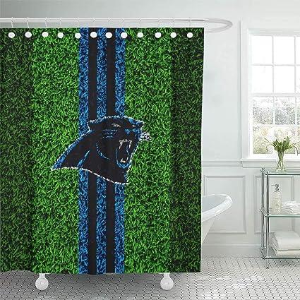 Ladble Decor Shower Curtain Set With Hooks Carolina City Panthers Grass  Texture Emblem Football Lawn Blue