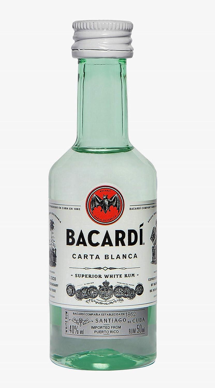 Bacardi Carta Blanca - Paquete de 10 botellines x 50 ml ...