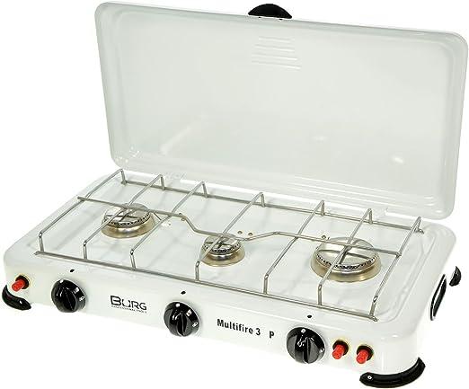 Hornillo a Gas 3 Fuegos Piezo 50 x 30 x 10 cm Cocina 700010857 de camping Apoyo