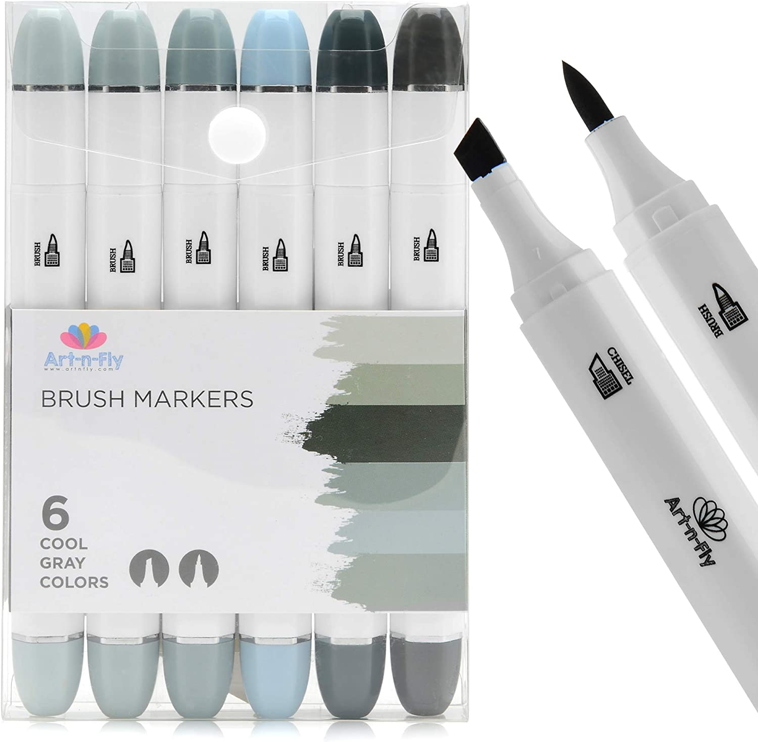 Professional Brush Tip Cool Gray Markers Set of 6 Cool Grey Tone Markers for Drawing Manga Sketching Illustration
