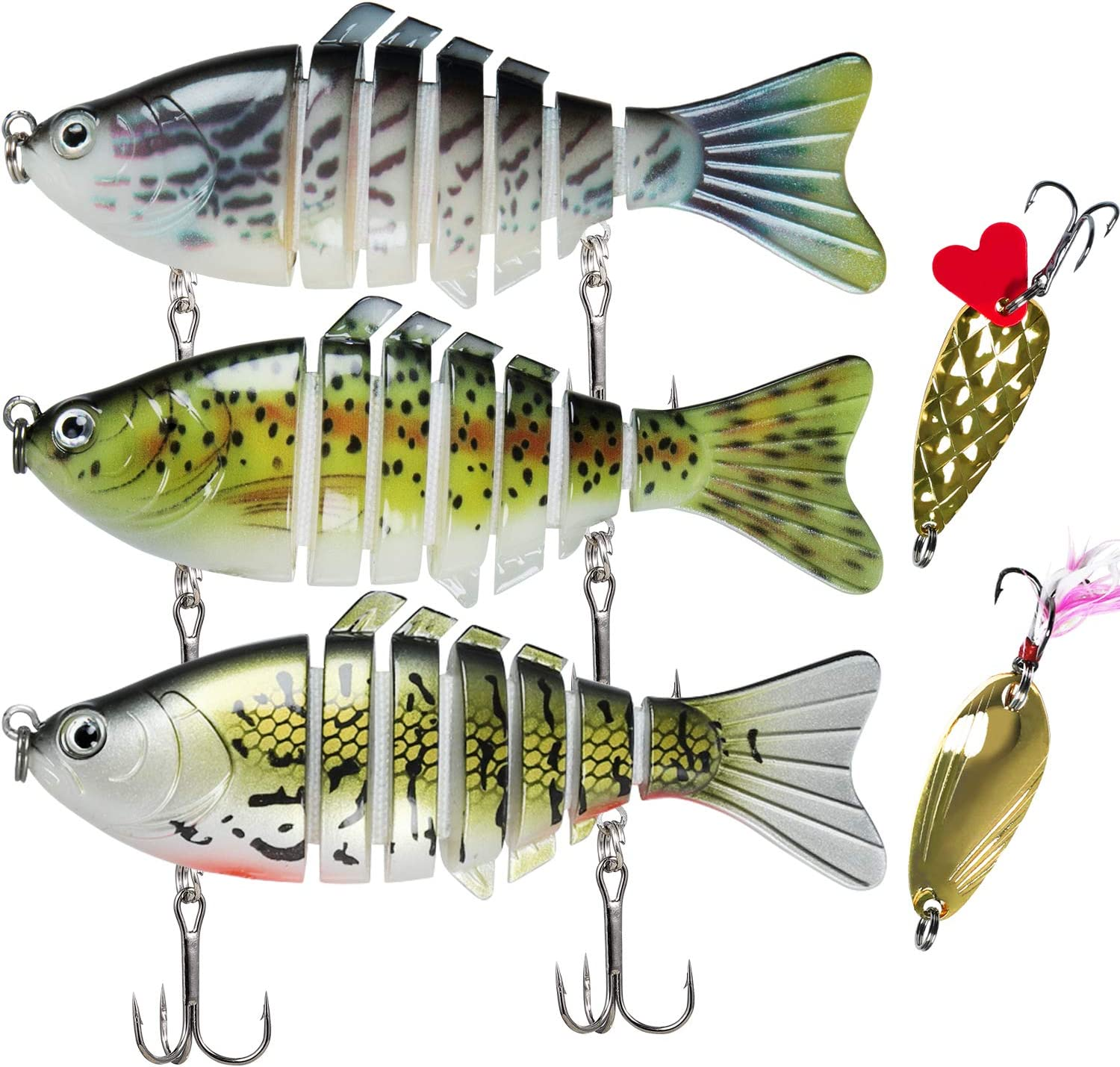 Fishing Baits Kit Multi-Section Fishing Bait 5 Pcs Fishing Lures for Bass and Trout Fishing Lures for Freshwater and Saltwater Swimbaits Lures Simulation Bait