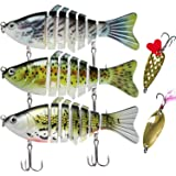 TRUSCEND Fishing Lures for Bass Trout Segmented Multi Jointed Swimbaits Slow Sinking Swimming Lures Freshwater Saltwater…