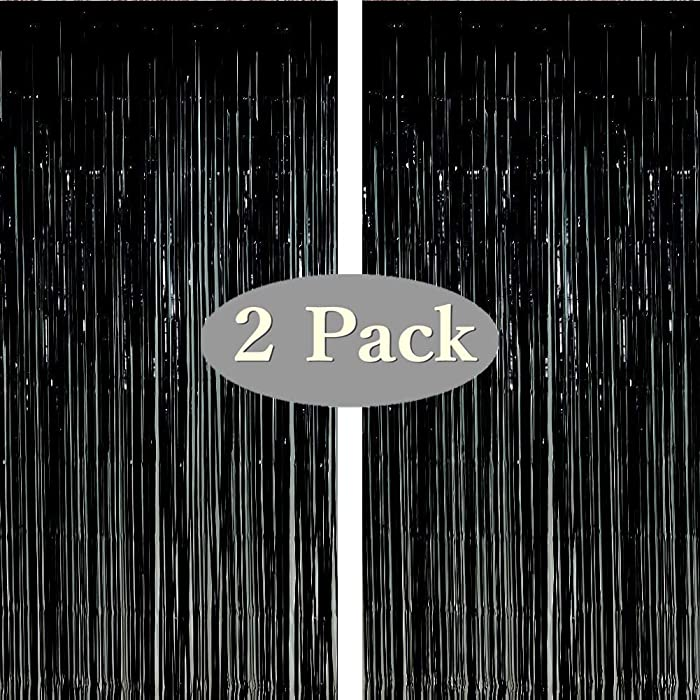 Twinkle Star Photo Booth Backdrop Foil Curtain Tinsel Backdrop Environmental Background for Birthday Party, Wedding, Graduation, Christmas Decorations (2 Pack, Black)