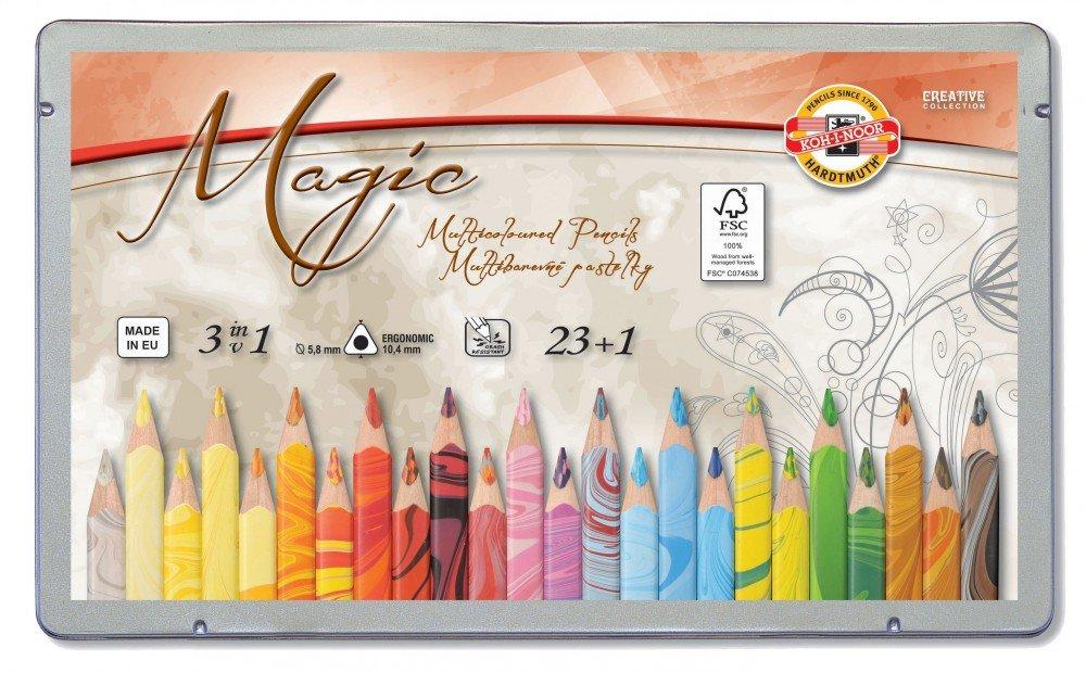 KOH-I-NOOR MAGIC Jumbo Triangular Coloured Pencil Pack of 24 + 2xEraser + Sharpener