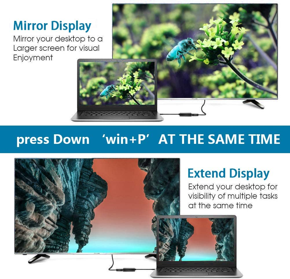 GLR Adaptateur USB 3.0 vers HDMI,USB 3.0 vers HDMI 1080P de Adaptateur convertisseur USB vers HDMI avec Sortie Audio Compatible avec Windows XP 7//10// 8.1//8 m/âle /à Femelle