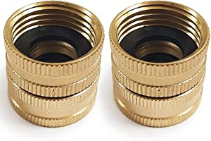 "Twinkle Star 2 Pack 3/4"" Brass Garden Hose Connector with Dual Swivel for Male Hose to Male Hose, Double Female"