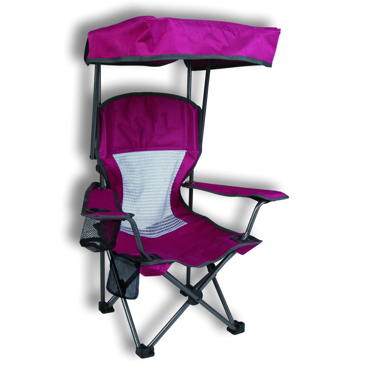 Purple Kid's Folding Chair with Canopy and Durable Carry Bag