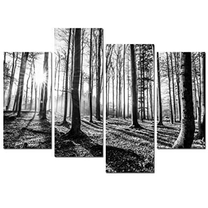 Sea charm forest canvas wall art 4 pieces black and white landscape tree wood sunset
