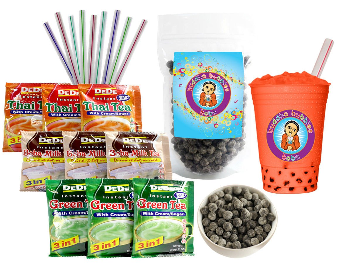DeDe Instant Boba Tea Kit 9 Drink Packets, Straws & Boba Thai, Milk & Green Tea Latte by Buddha Bubbles Boba by Unknown