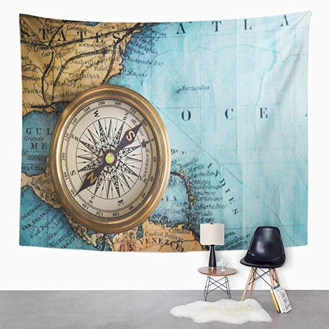 Amazon.com: Emvency Wall Tapestry Parchment Compass on ...