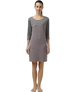 ab36032c72 Suntasty Nightdress Ladies Short Sleeve Striped Sleepwear  Amazon.co ...