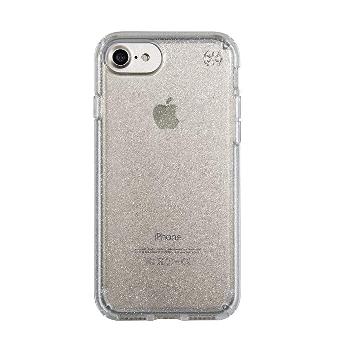 size 40 95753 ad2ee Speck Products Presidio Clear + Glitter Cell Phone Case for iPhone 7,  iPhone 6/6S - Gold Glitter/Clear