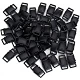 50pcs Side Release Plastic Buckles 3/8 Inch Black--Great Accessories for Webbing, Dog Collar, Paracord Bracelets