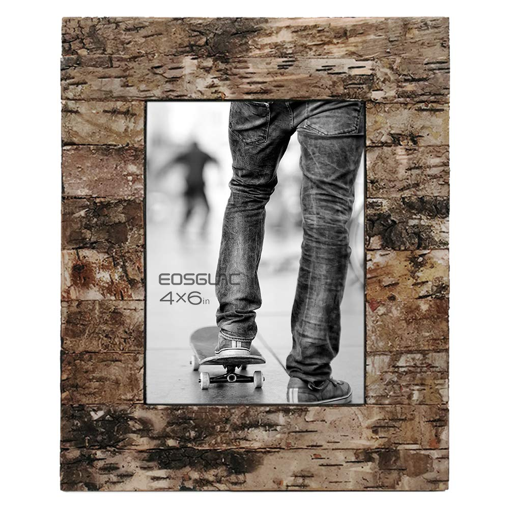 Eosglac Rustic 4x6 Wooden Picture Frame, Handcrafted with Real Birch Bark, Easel Back, Natural by Eosglac