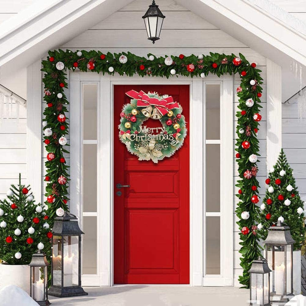 Chen0-super Decoración de guirnalda de Navidad, guirnalda de Navidad de acebo artificial, bolas de Navidad, campanas, festival de lazo rojo Decoración de Navidad de guirnalda preiluminada: Amazon.es: Hogar
