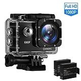 CAMKONG Action Camera Action Cam Sport Camera Waterproof Camera Full HD 1080P Ultra 170° Wide-Angle Lens with Dual 1050mAh Batteries