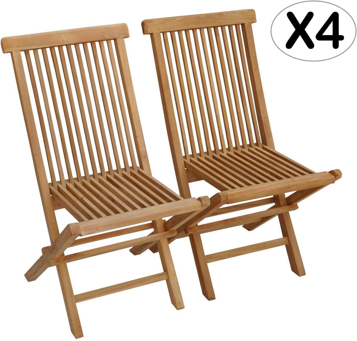 Beneffito SALENTO - Conjunto de 4 sillas de jardín Plegables en Teca Natural para Exterior (X4)