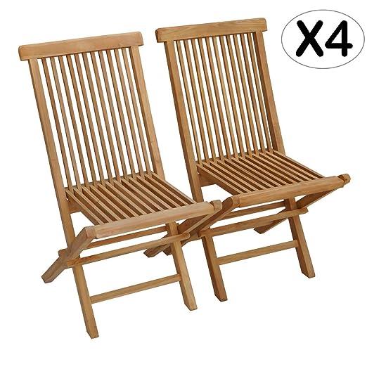 Beneffito Conjunto de 4 sillas de jardín Plegables en Teca Natural para Exterior SALENTO
