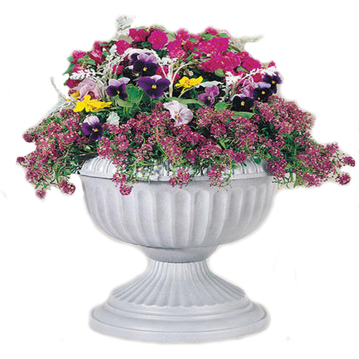 Grecian Urn Planter - UV Resistant Cracking Proof Lightweight NO FADE - 18'' H x 18'' W x 14.5'' D (White)