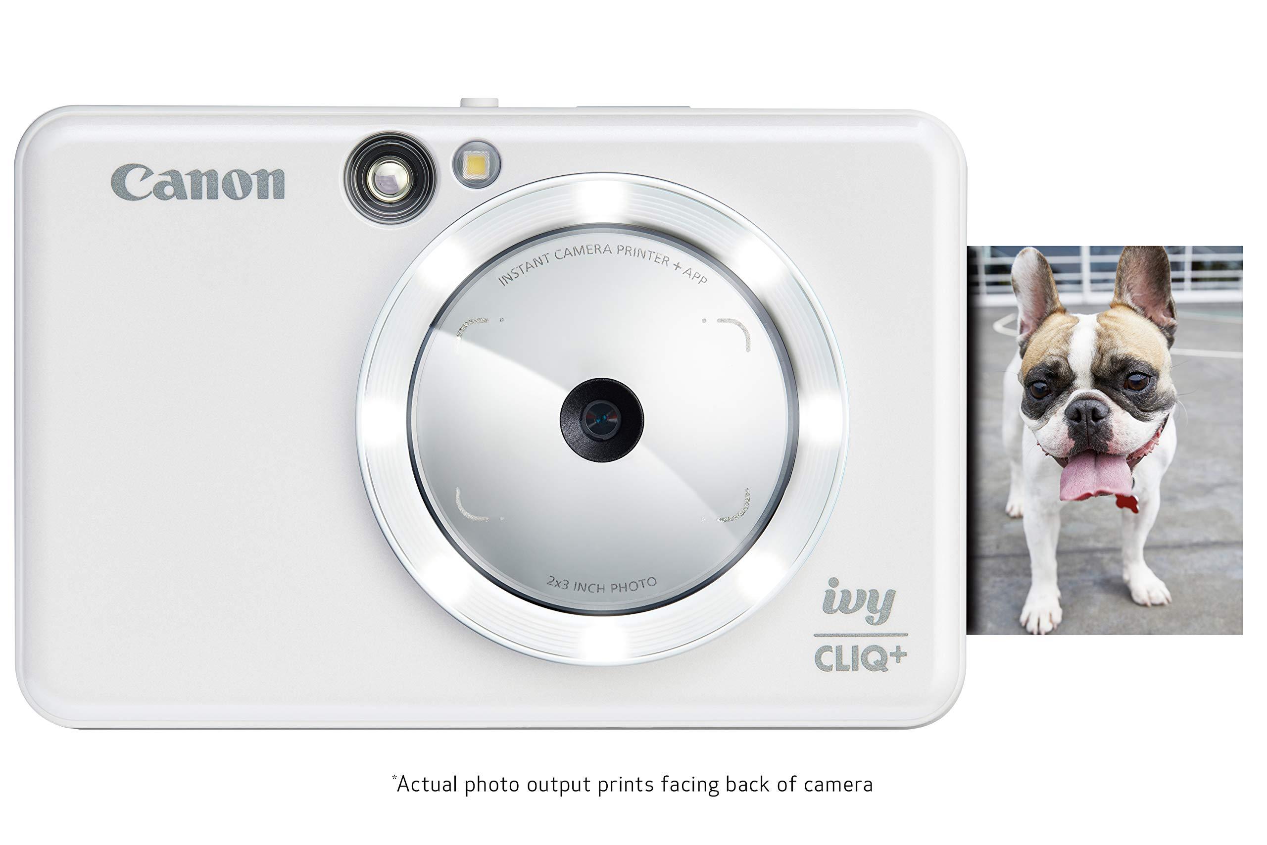 Canon IVY CLIQ+ Instant Camera Printer, Mobile Mini Photo Printer Via Bluetooth(R), Pearl White by Canon