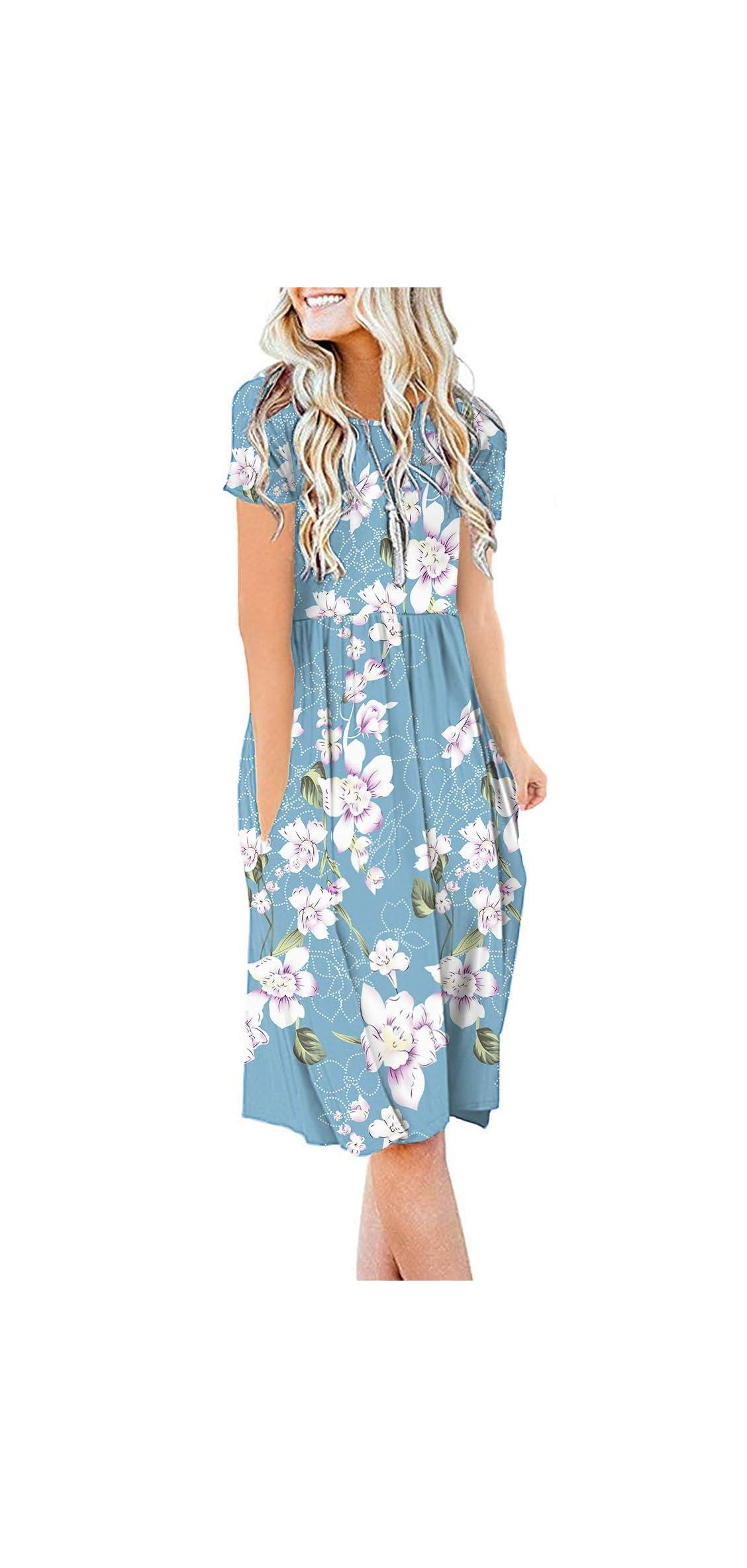 Women Summer Casual Short Sleeve Dresses Empire Waist