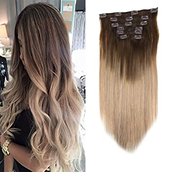 Laavoo 18 Clip In Highlight Hair Extension Balayage Dark Brown To Ash Blonde Skily Straight 100