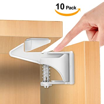 c0cb0dc912604 Amazon.com   Cabinet Locks Child Safety Latches - Baby Proofing Cabinet Lock  with 3M Adhesives Easy Installation Spring Loaded Latch Upgraded Edition -  No ...